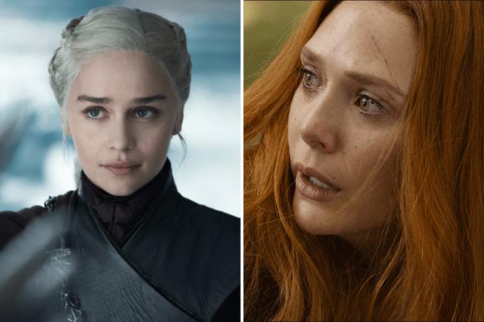 Emilia Clarke como Daenerys e Elizabeth Olsen como Feiticeira Escarlate