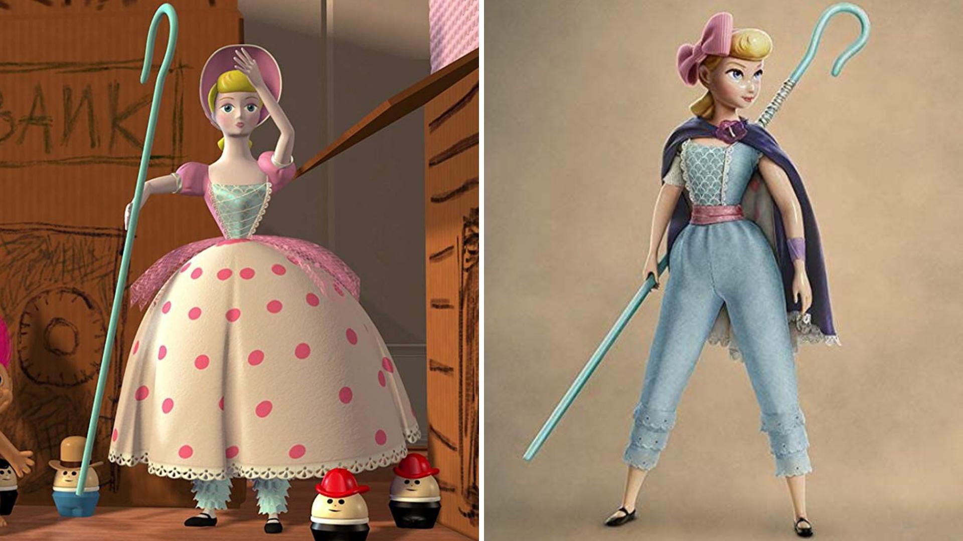 Visual aprimorado: Betty em 'Toy Story' (à esquerda) e em 'Toy Story 4' (à direita).