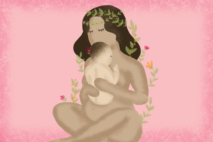 Ilustração de mãe com bebê no colo