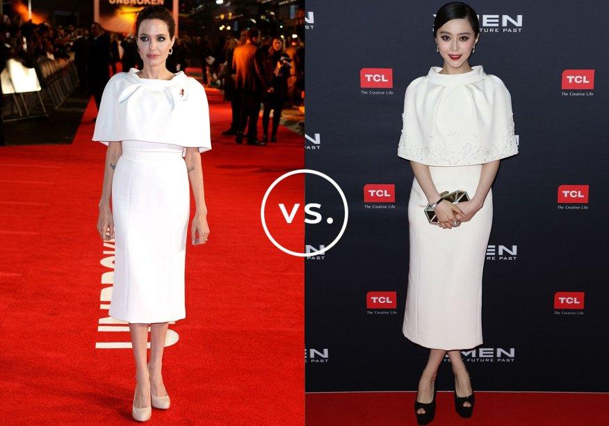 <strong>Angelina Jolie</strong> e<strong> Fan Bingbing</strong> vestem<strong>Ralph & Russo</strong>. A atriz norte-americana fez pequenas alterações no vestido, já a chinesa usou o look como apresentado na passarela, com bordados na capa e comprimento mídi.