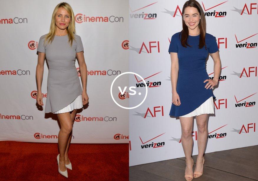 <strong>Cameron Diaz</strong> e <strong>Emilia Clarke</strong>vestem <strong>Victoria Beckham</strong>. Você usaria o vestido cinza de Cameron ou o marinho de Emilia?