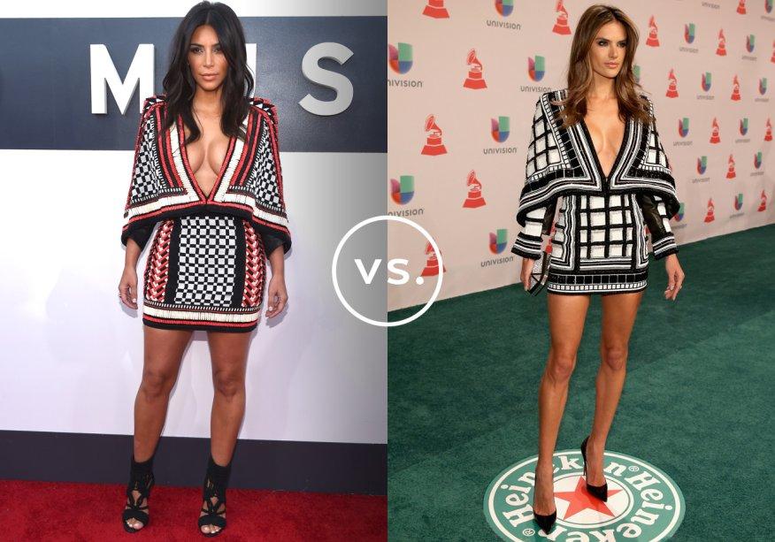 <strong>Kim Kardashian</strong> e <strong>Alessandra Ambrósio</strong> vestem <strong>Balmain</strong>. Alessandra apostou no vestido de mangas longas. Assim, o look fica um pouco mais equilibrado. Kim, que adora um visual ousado, deixou mais pele à mostra.