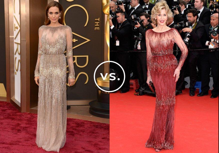 <strong>Angelina Jolie</strong> e <strong>Jane Fonda</strong> vestem <strong>Elie Saab Couture</strong>.Fiel ao estilo mais básico, Angelina optou por um tom neutro. Já Jane escolheu um vermelho poderoso, que lhe deu ainda mais confiança. Olha a pose!