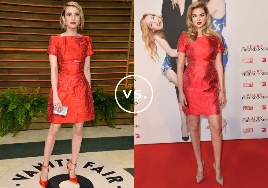 <strong>Emma Roberts</strong> e <strong>Kate Upton</strong>vestem <strong>Fendi</strong>. O vermelho do vestido não foi suficiente para as famosas, que optaram por arrematar o look com batom da mesma cor. Emma foi ainda mais longe e escolheu sapatos também carmim.