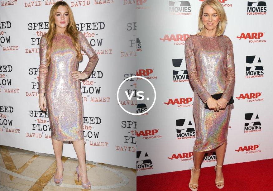 <strong>Lindsay Lohan</strong> e <strong>Naomi Watts</strong>vestem <strong>Givenchy</strong>. O brilho furta-cor também aparece nos sapatos de Lindsay. Naomi foi mais discreta e optou pela sandália nude.