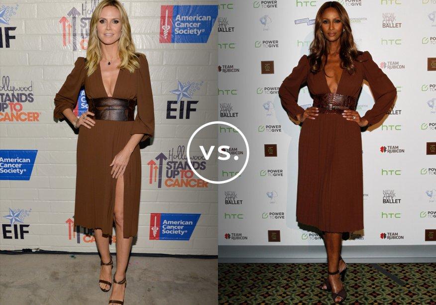 <strong>Heidi Klum</strong> e <strong>Iman</strong> vestem <strong>Michael Kors</strong>. O styling dos looks das duas ex-modelos é praticamente o mesmo: sapatos marrons e poucas joias.