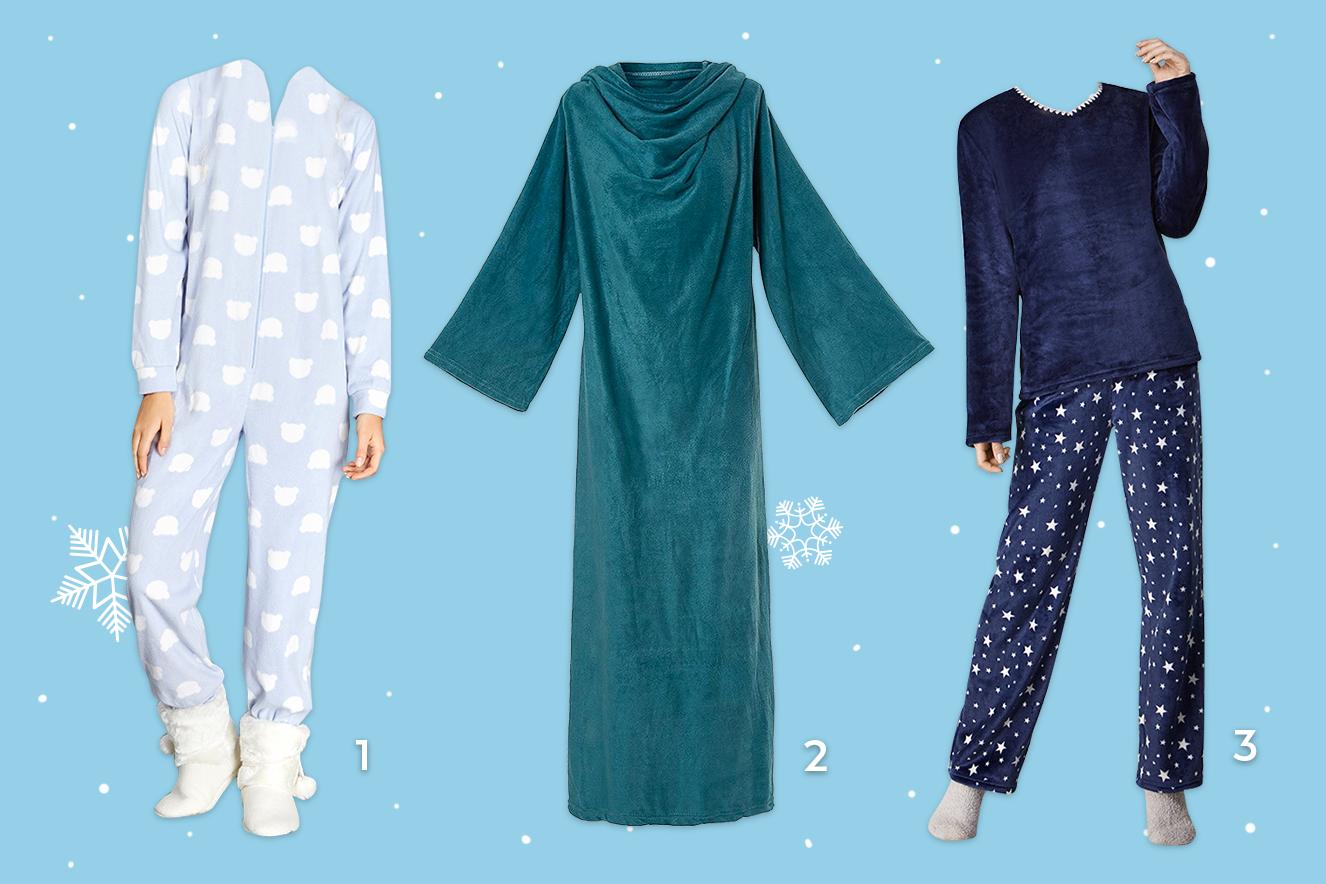 pijamas e cobertores para aquecer o corpo no inverno 2017
