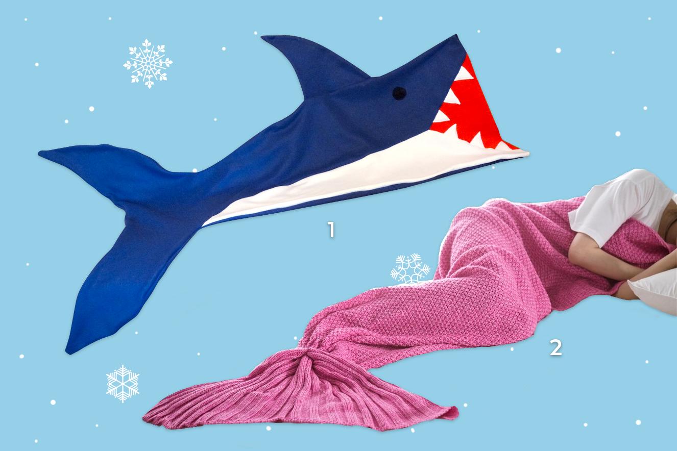 cobertor de tubarão e sereia para o inverno 2017