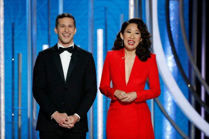 Andy Samberg e Sandra Oh Globo de Ouro 2019