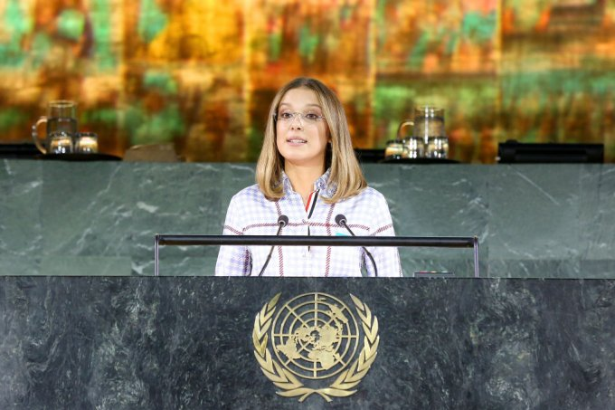 Millie Bobby Brown na sede da ONU