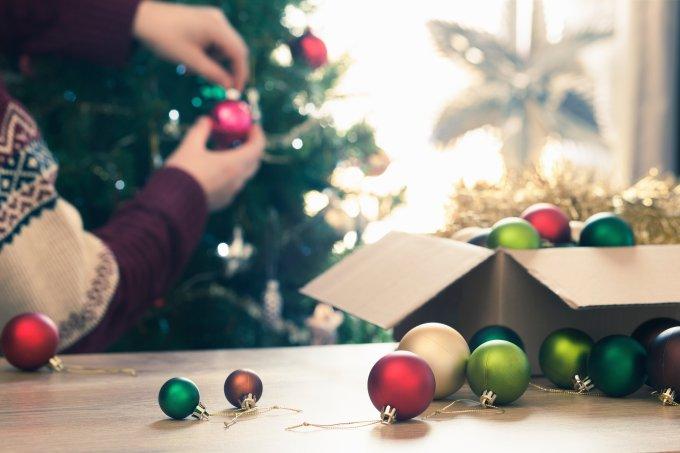 bolas de Natal, montagem árvore
