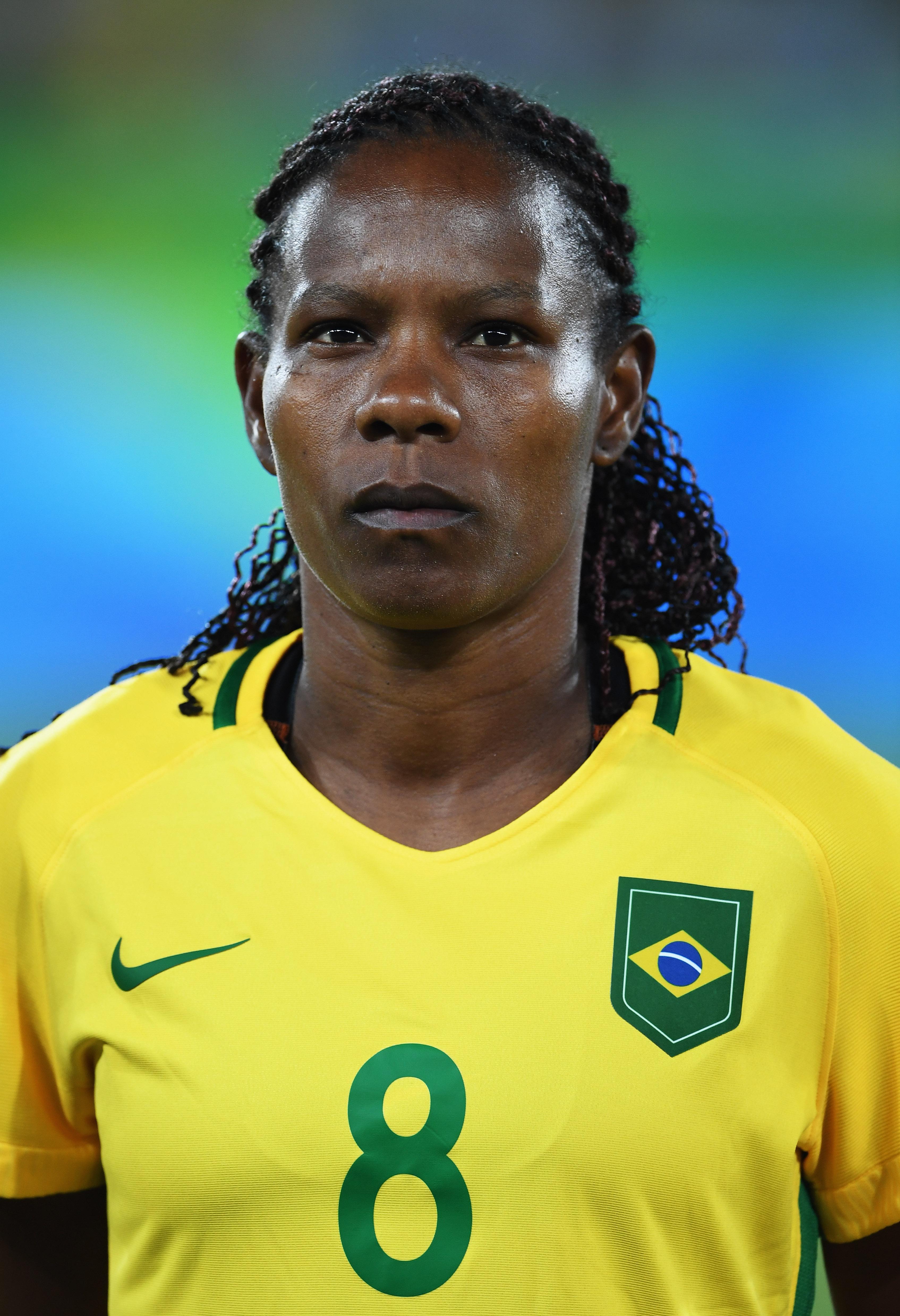 A jogadora Formiga, recordista em participações de Copas e a mais velha a disputar partidas em campo.