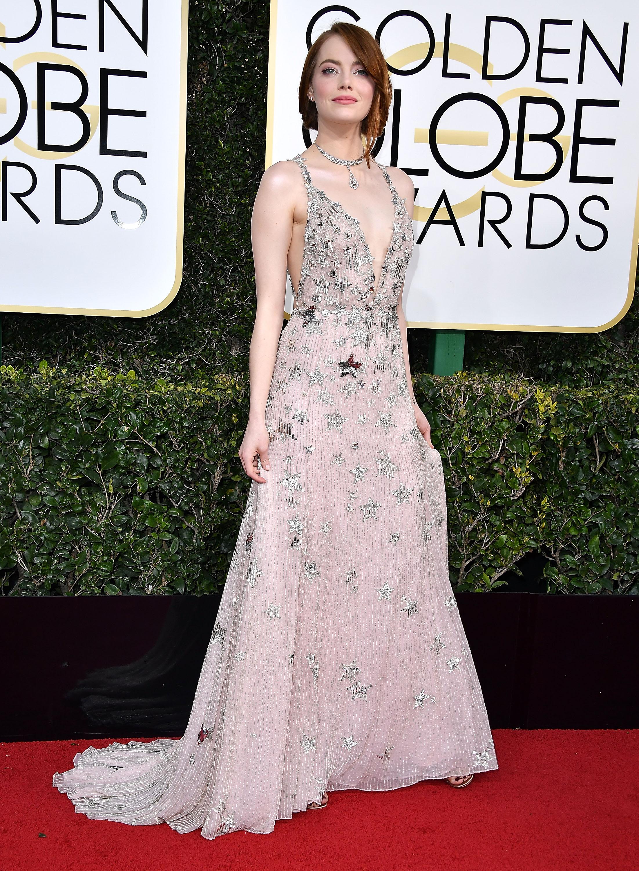 Emma Stone Globo de Ouro Melhores Vestidos