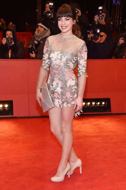 A atriz <b>Anjela Nedyalkova</b><span></span>na première de <i>T2 Trainspotting</i>.