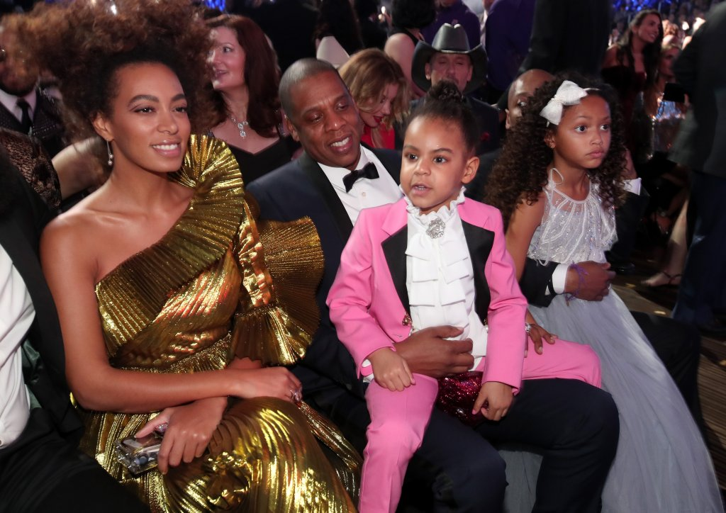 LOS ANGELES, CA - FEBRUARY 12: (L-R) Solange Knowles, hip hop artist Jay-Z and daughter Blue Ivy Carter during The 59th GRAMMY Awards at STAPLES Center on February 12, 2017 in Los Angeles, California. (Photo by Christopher Polk/Getty Images for NARAS)