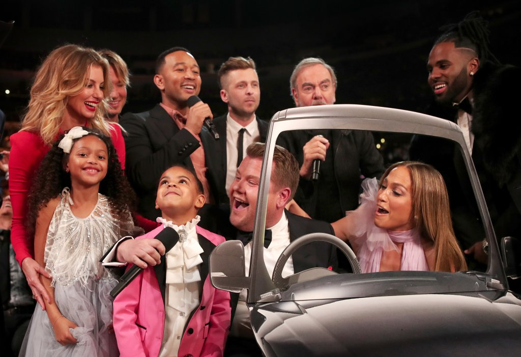 LOS ANGELES, CA - FEBRUARY 12: (L-R) Blue Ivy Carter, Guest, Faith Hill, Keith Urban, John Legend, GRAMMY Awards host James Corden, Ryan Tedder of OneRepublic, Neil Diamond, Jennifer Lopez and Jason Derulo during The 59th GRAMMY Awards at STAPLES Center on February 12, 2017 in Los Angeles, California. (Photo by Christopher Polk/Getty Images for NARAS)