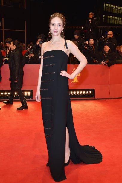 A atriz <b>Zofia Wichlacz</b> na première de <i>The Party</i>.