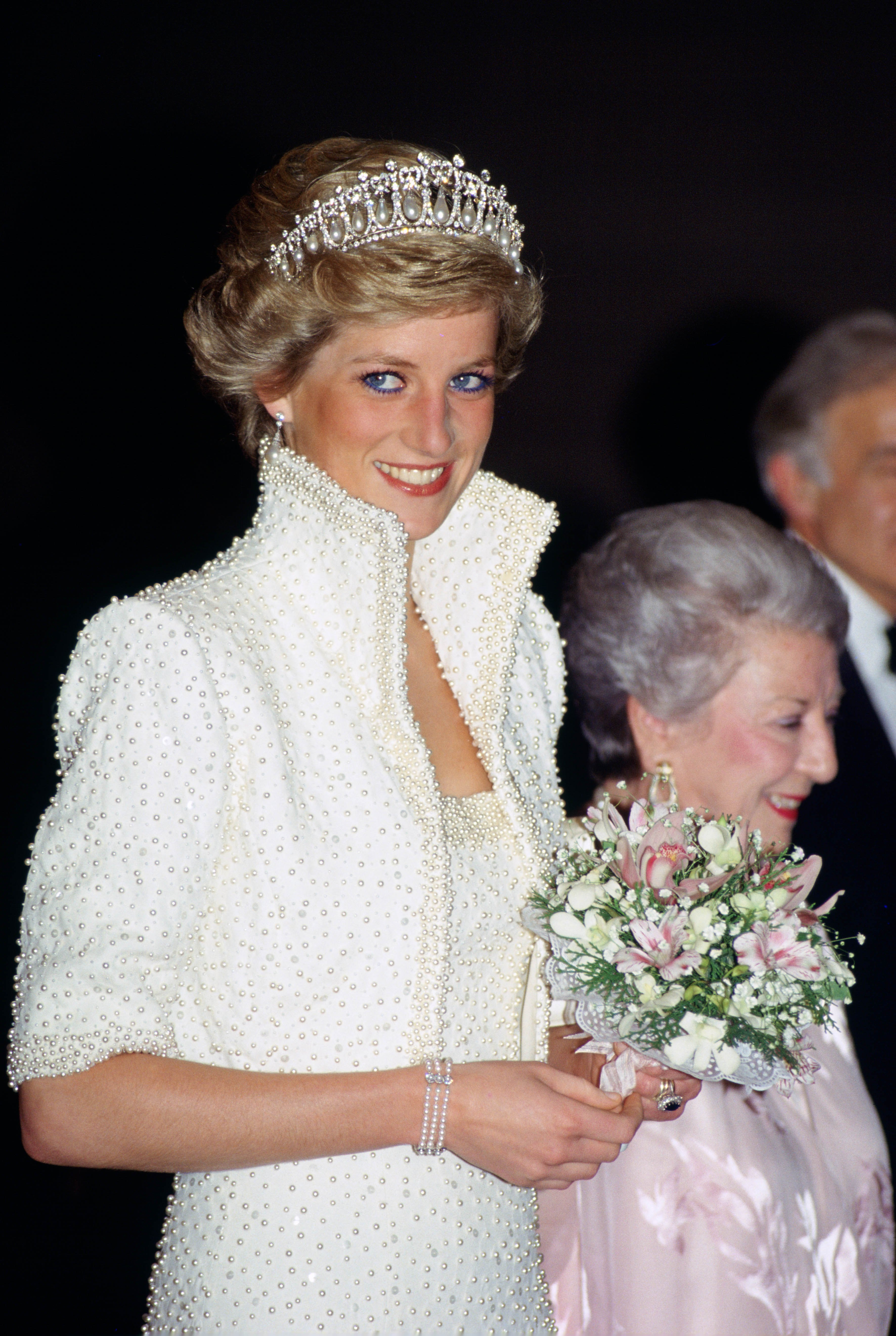 HONG KONG - NOVEMBER 08: Diana, Princess of Wales wears an outfit described as the 'Elvis dress' designed by Catherine Walker to the Culture Centre in Hong Kong (Photo by Tim Graham/Getty Images)