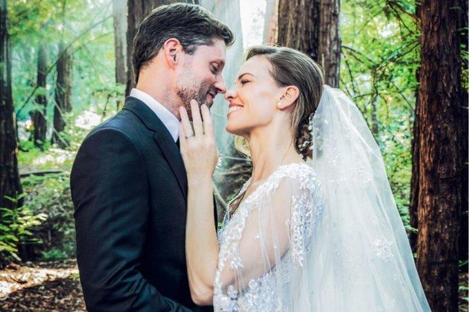 Hilary Swank vestido de noiva