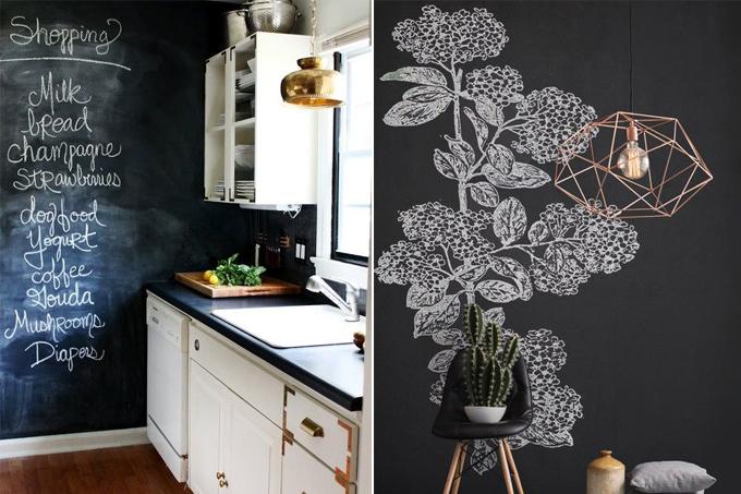 ideias de uso de tinta lousa pela casa