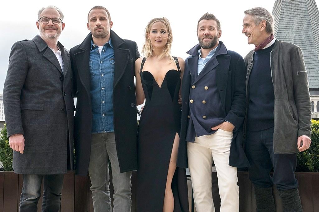 Francis Lawrence, Matthias Schoenaerts, Jennifer Lawrence, Joel Edgerton e Jeremy Irons