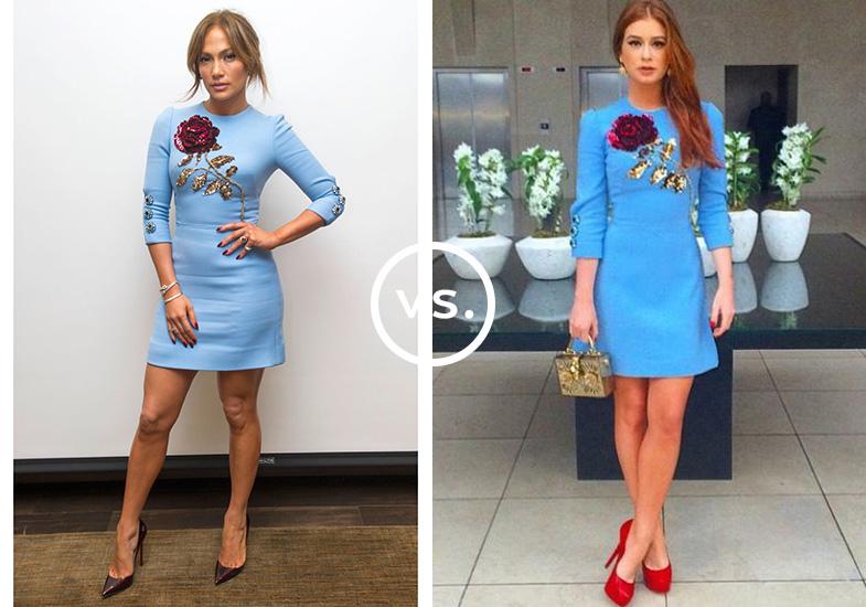 <strong>Jennifer Lopez</strong> e <strong>Marina Ruy Barbosa</strong>vestem<strong>Dolce & Gabbana</strong>. Enquanto a cantora preferiu combinar o vestido bordado com escarpins de bico fino, joias discretas e coque desprentesioso, a atriz abusou da feminilidade com sapatos vermelhos altíssimos e minibag dourada.