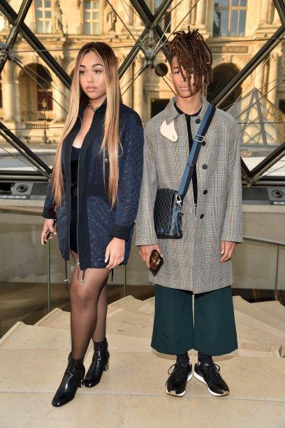 Jordyn Woods e Jaden Smith no desfile da Louis Vuitton