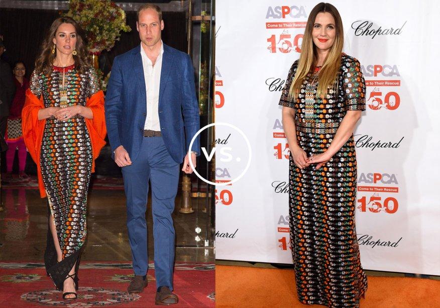 <strong>Kate Middleton</strong> e <strong>Drew Barrymore</strong>vestem <strong>Tory Burch</strong>. A duquesa de Cambridge e a atriz norte-americana foram fotografadas usando o vestido bordado no mesmo dia. Kate, em jantar com a realeza do Butão; Drew, em uma festa em Nova York.