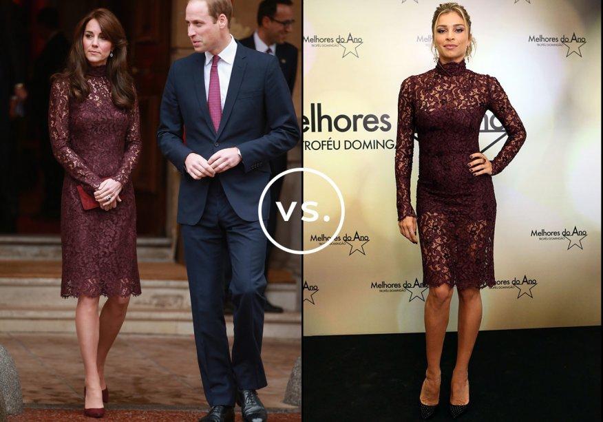 <strong>Kate Middleton</strong> e <strong>Grazi Massafera</strong> vestem<strong>Dolce & Gabbana</strong>. Duquesa e atriz usaram o mesmo vestido rendado da grife italiana. Grazi, no entanto, deixou as pernas à mostra emuma versão mais sexy com forro curto. Ambas completaram olookcom escarpins de bico fino.
