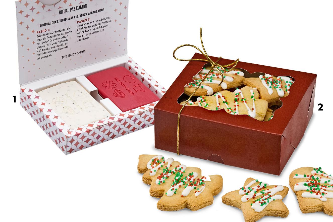 Caixa de sabonetes e caixa de biscoitos em forma de árvore de Natal para dar de presente