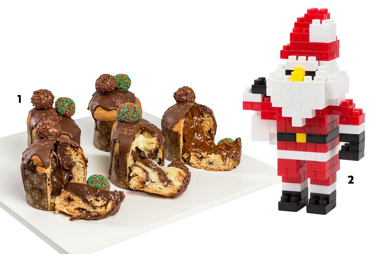 Mini panettones ou chocottones e papai noel em blocos para montar - sugestões de lembrancinhas de Natal