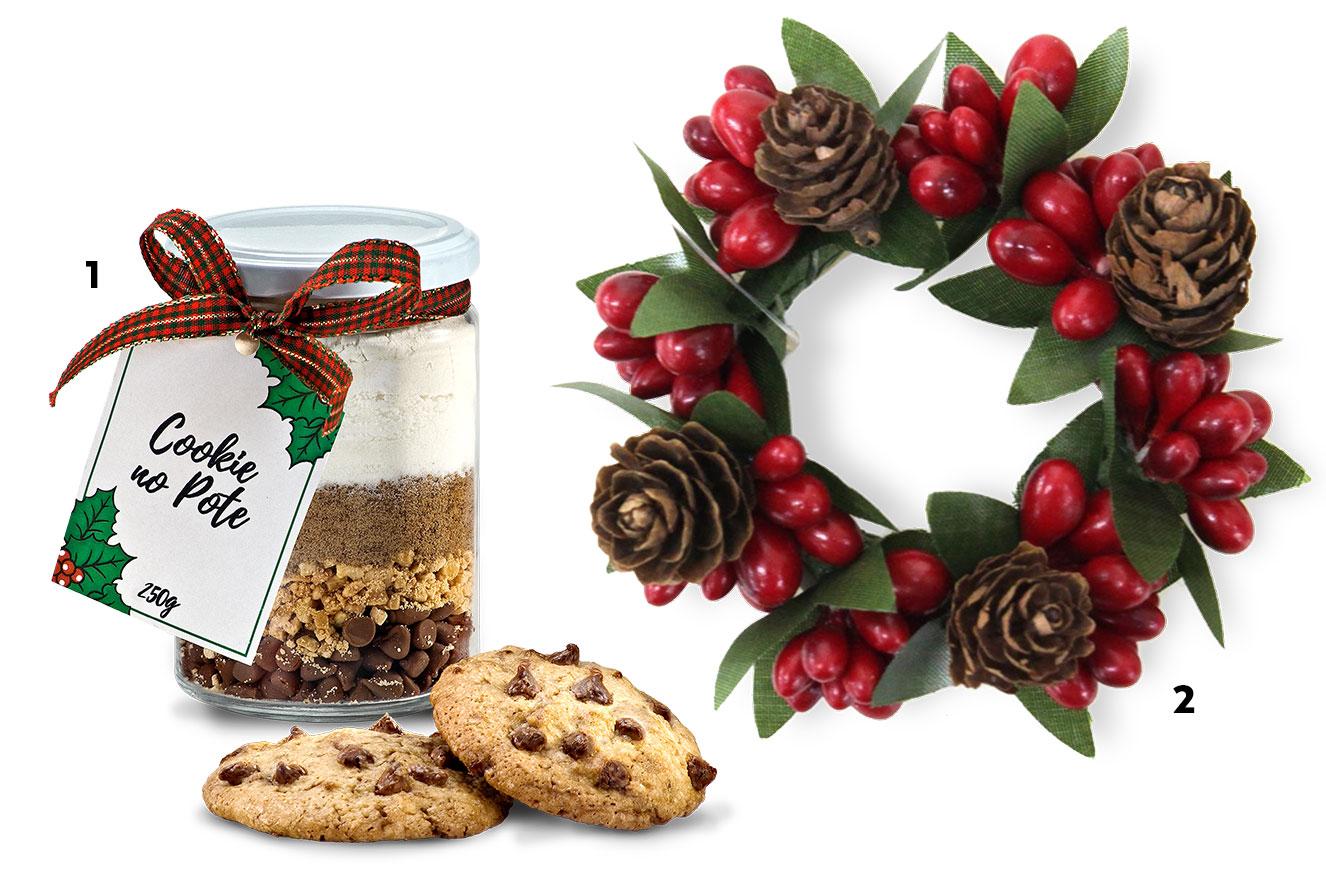 Cookie no pote e guirlanda de Natal para enfeitar a casa - ideias de lembrancinhas de Natal