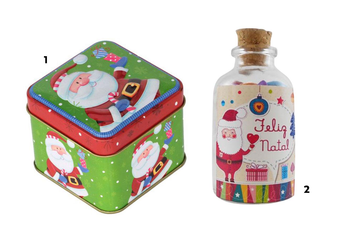 Caixinha com estampa de Papai Noel e garrafinha de Natal personalizada - ideias de lembrancinhas de Natal