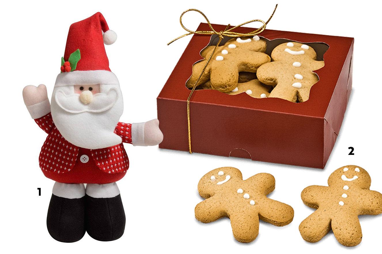 Boneco Papai Noel e caixa com biscoitos de Natal - ideias de lembrancinhas de Natal