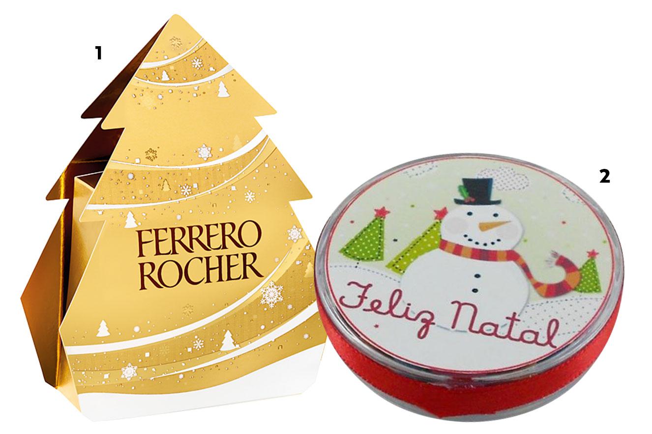 Pinheiro de chocolate com três bombons e latinha de presente para personalizar - ideias de lembrancinhas de Natal