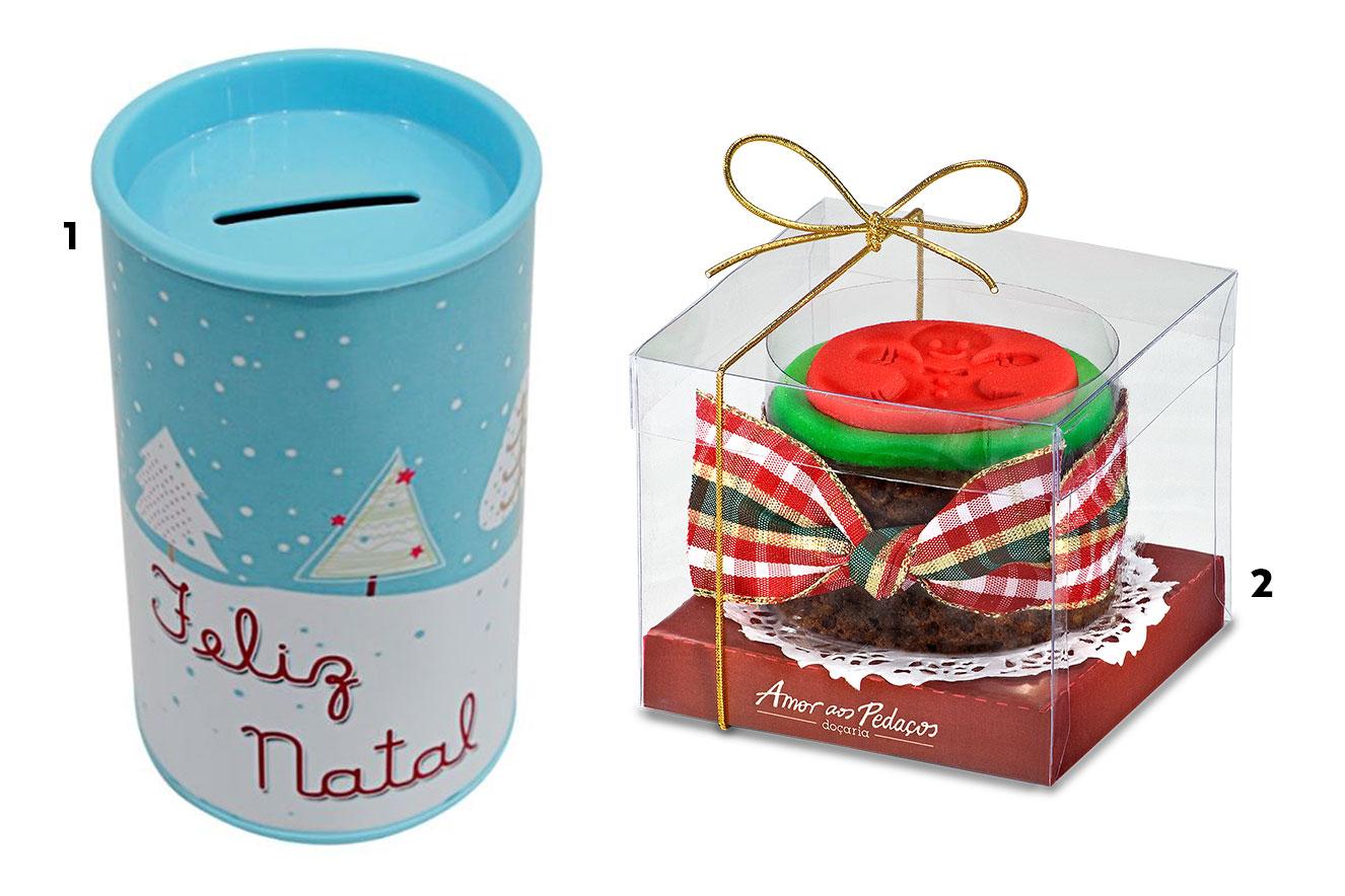 Cofrinho de Natal e mini bolo de castanhas - ideias de lembrancinhas para o Natal