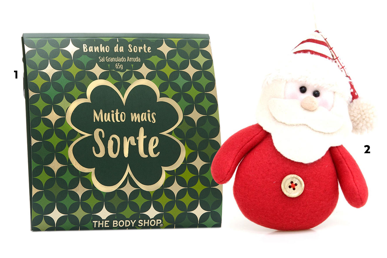 Sachê com sais de banho e Papai Noel da enfeite - ideias de lembrancinhas de Natal