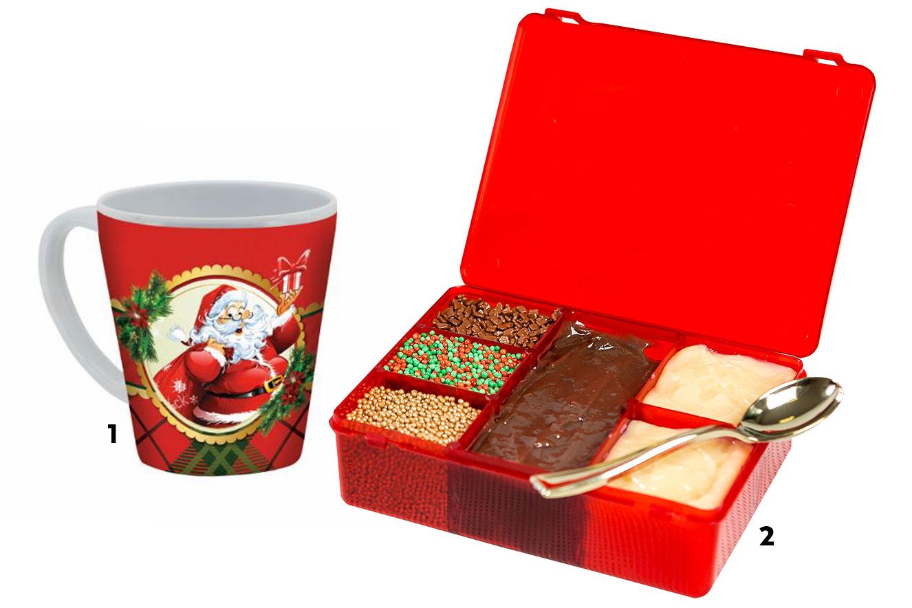 Caneca de Papai Noel e caixa com diferentes tipos de brigadeiro de colher