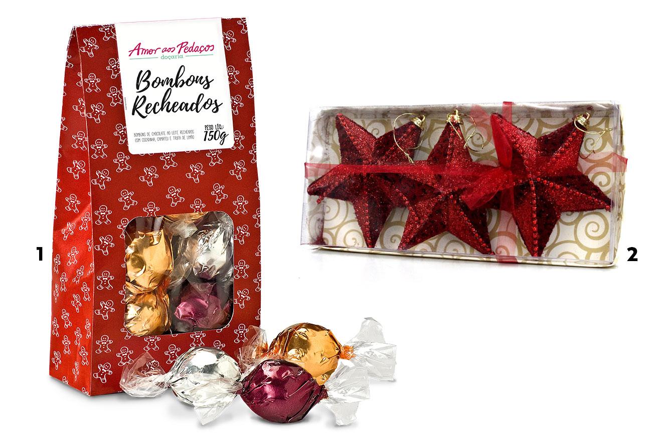 Caixa de bombons sortidos e kit com 3 estrelas decorativas para a árvore - ideias de lembrancinhas de Natal