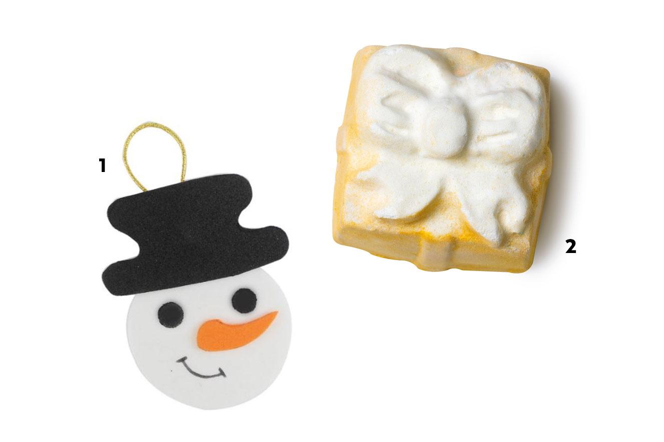 Enfeite para árvore em forma de boneco de neve e espuma de banho em formato de presente - ideias de lembrancinhas de natal
