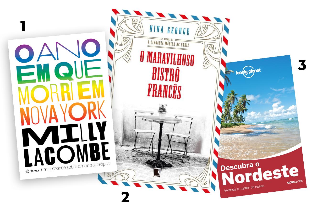 Capas dos livros: O ano em que morri em Nova York, O Maravilhoso bistrô francês e Descobrindo o Nordeste - livros para presentear neste Natal