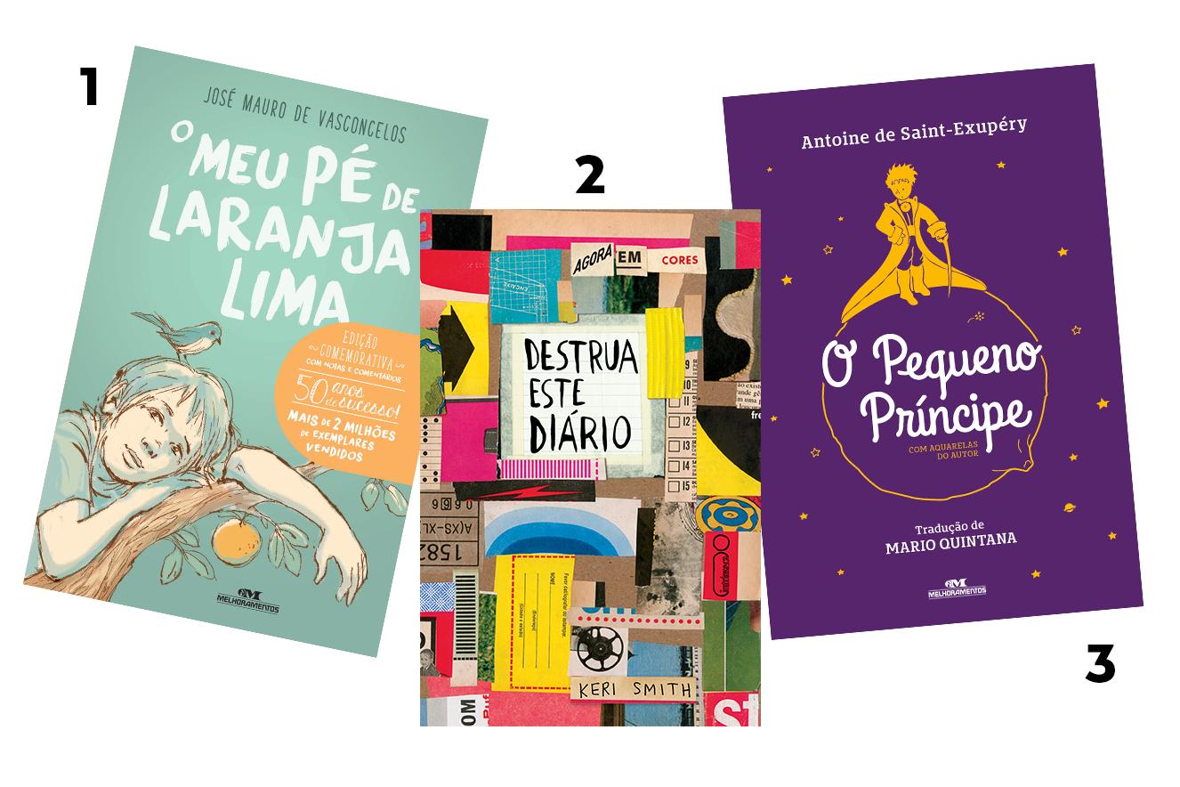 Capas dos livros: Meu Pé de Laranja Lima, Destrua Este Diário e O Pequeno Príncipe - livros para presentear neste Natal