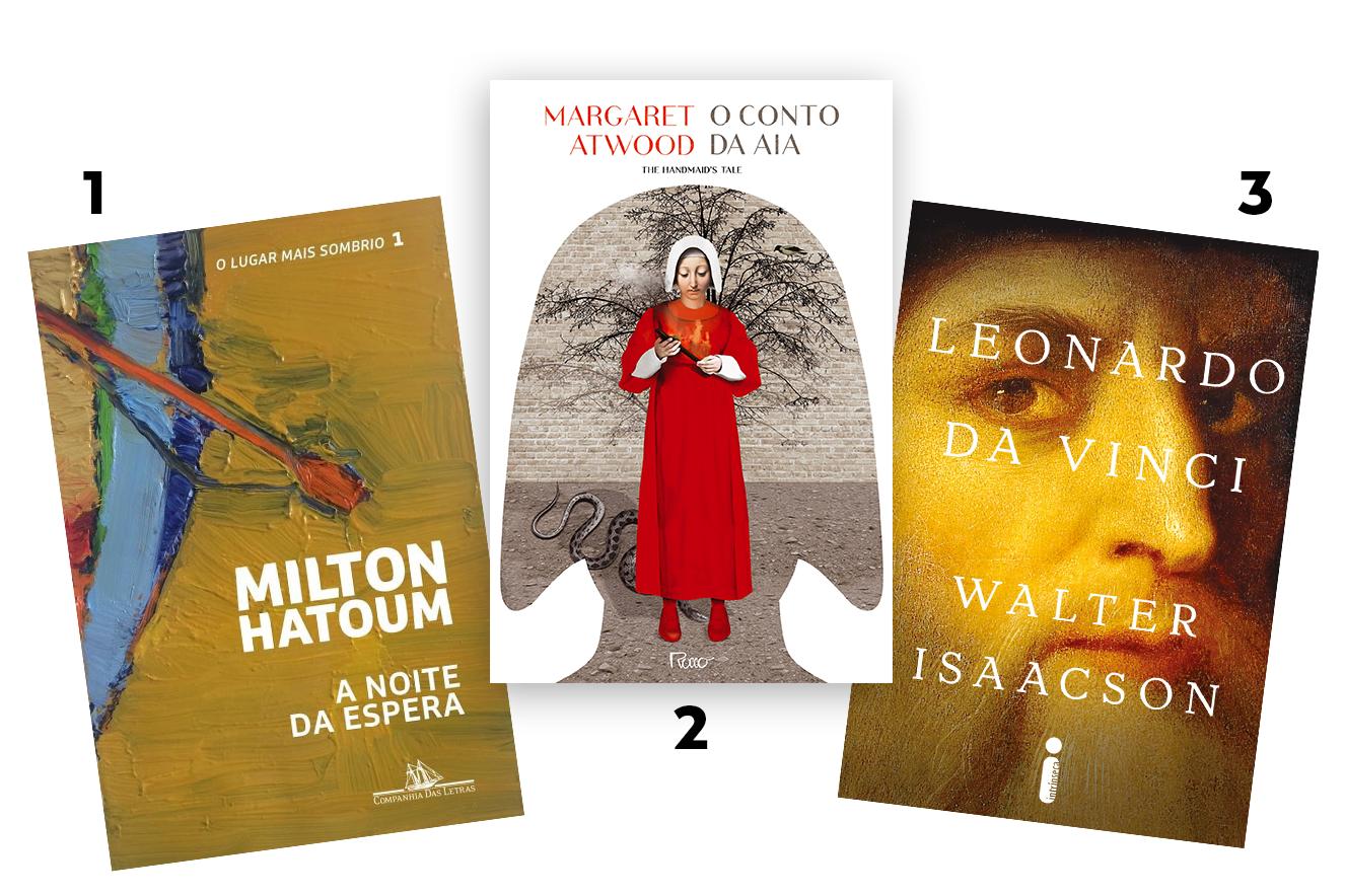 Capas dos livros: A Noite da Espera, O Conto da Aia e Leonardo da Vinci - livros para presentear neste Natal
