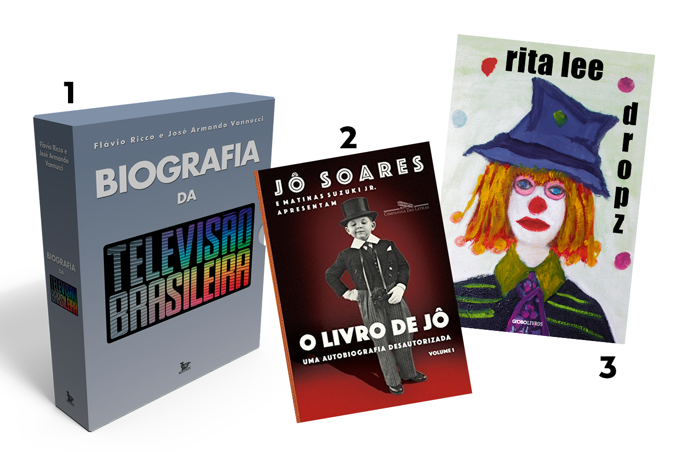 Capas dos livros: Biografia da televisão brasileira, O livro de Jô e Dropz - livros para presentear neste Natal