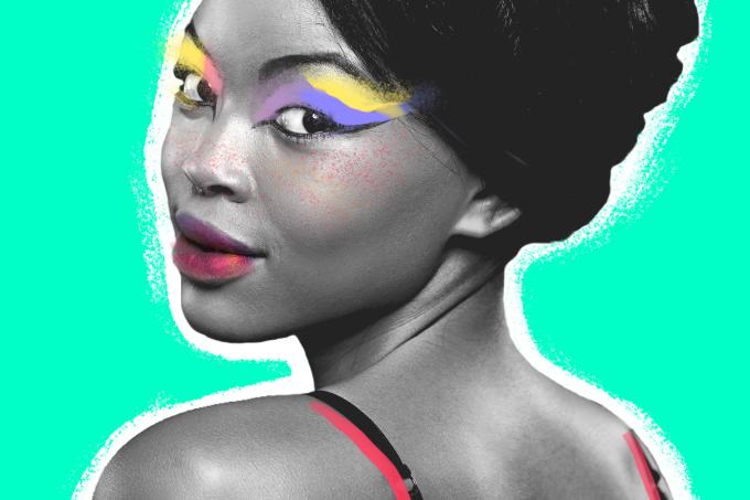 Tendências de beleza com cores arco-íris