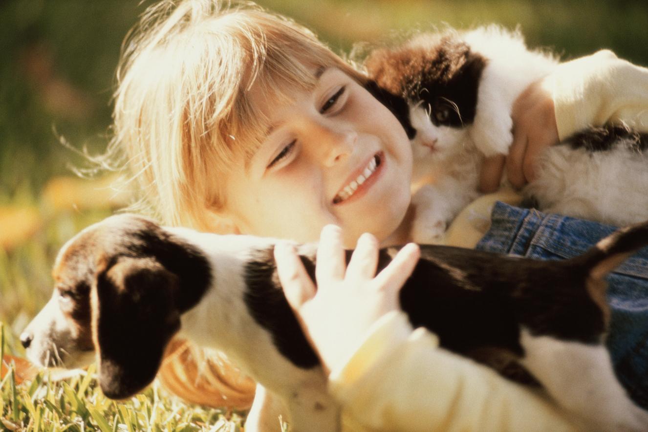 Menina segurando um cachorro e um gato