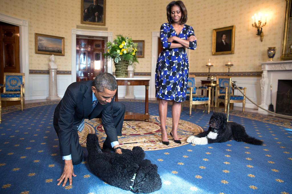 Barack Obama e Michelle Obama brincando com os mascotes, Sunny and Bo.