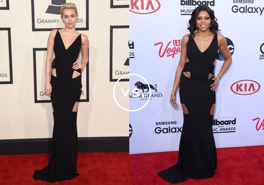 <strong>Miley Cyrus</strong> e <span><strong>Taraji P. Henson</strong></span>vestem <strong>Alexandre Vauthier Couture</strong>. Ambas optaram por acessórios minimalistas para não ofuscar a sensualidade do vestido cheio de recortes. Miley usou o modelo no Grammy Awards e Taraji, no Billboard Awards - premiações de música em que looks ousados são maioria no tapete vermelho.
