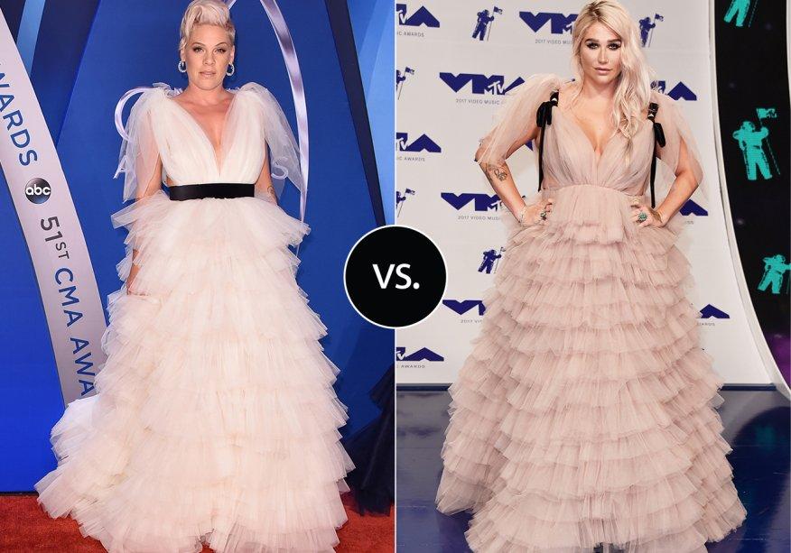 <strong>Pink</strong>e<strong> Kesha</strong>vestem <strong>Monsoori</strong>. As duas escolherem o look cheio de tules para duas premiações. Pink usou o look no CMA 2017 e Kesha, no VMA deste ano.