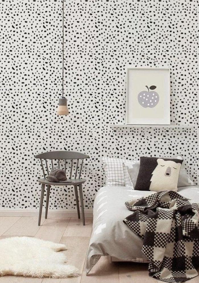 Pintura pontilhada escandinava na parede